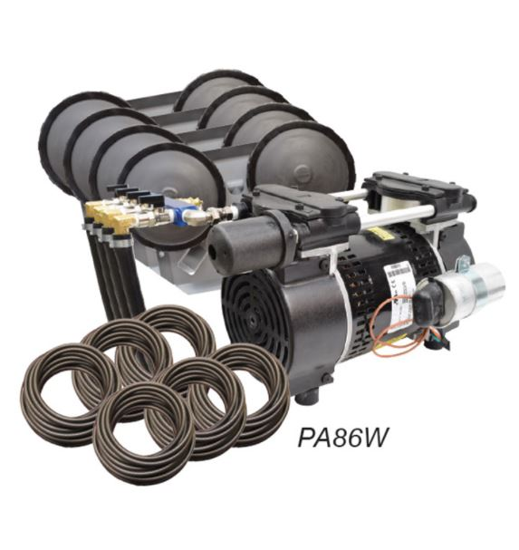 PA86W Rocking Piston Pond Aeration system – 3/4HP Kit with Quick Sink Tubing