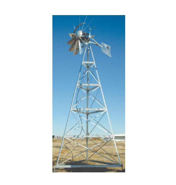 WM20P 20′ Three-legged windmill assembly with Poly Tubing